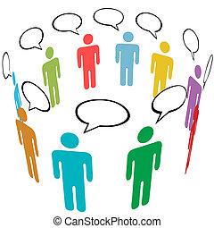 skupina, síť, národ, střední jakost, znak, barvy, společenský, hovor