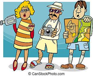 skupina, turista, ilustrace, karikatura