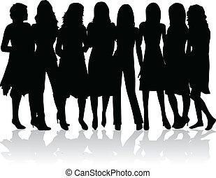 Skupiny žen - černé siluety