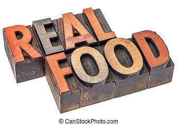 Skutečné jídlo abstraktní typografie