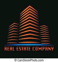 skutečný, budova, hodnost, emblém