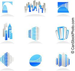 skutečný, logos, hodnost, ikona, /, konstrukce