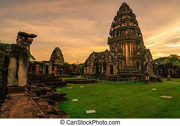 sky., stavení., ancient., krajina, nakhon, khmer, chrám, architecture., starobylý, klasický, destinations., mezník, sad, ratchasima, pohybovat se, historický, západ slunce, phimai, poloha, dějinný, thailand.