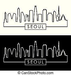 skyline., lineární, style., seoul