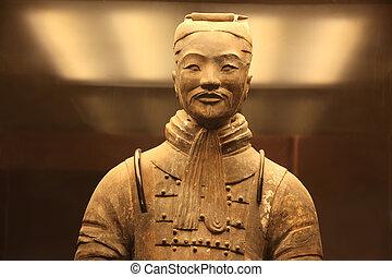 slavný, válečníci, terakotový, xian, čína, litera
