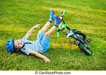 sluha, dávný, 3, jezdit na kole, rok, žert, jízdní, obout si, šťastný