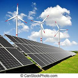 Sluneční energetické panely, větrné turbíny