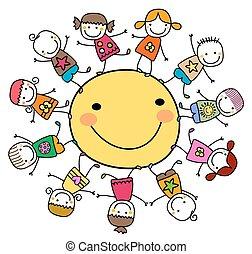 slunit se, šťastný, děti, dokola, hraní