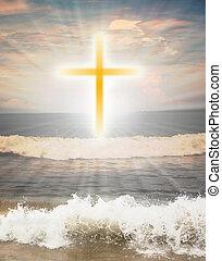 slunit se, mnich, leštit, kříž, na, znak, křesťanský