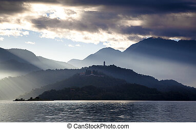slunit se, taiwan, jezero, měsíc
