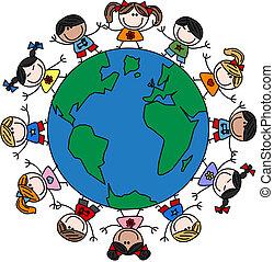 smíšený, děti, etnický, šťastný