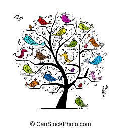Směšný strom s zpěvem pro tvůj návrh