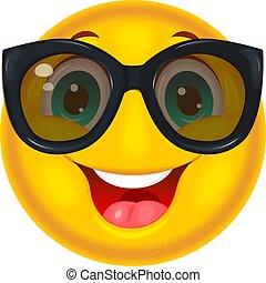 smiley, brýle proti slunci, šťastný