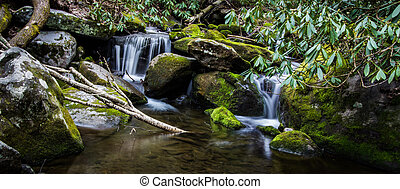 Smoky Mountain waterfall panorama