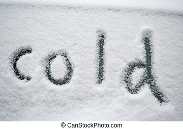 """sněžit, """"cold"""", napsáný"""