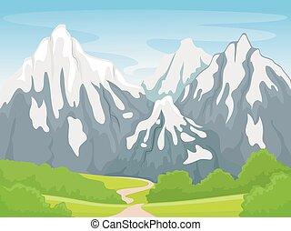 Sněhová horská scéna