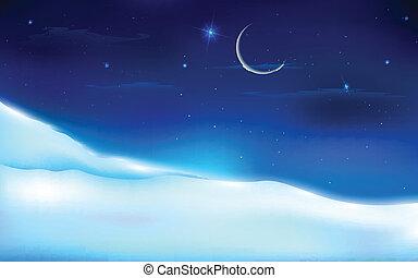 Sněhová noční krajina