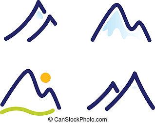 Sněhové hory nebo kopce, ikony nastražené na bílém