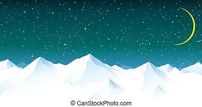 Sněhové hory proti noční obloze