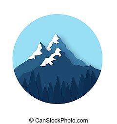 Sněhové hory vrcholky. Pozemní papírový styl. Forest. Za rámě.