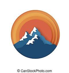 Sněhové hory vrcholky. Pozemní papírový styl. Hill a slunce. Za rámě
