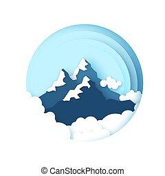 Sněhové hory vrcholky. Pozemní papírový styl. Nebe a mraky. Za rámě.