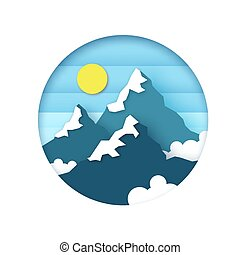 Sněhové hory vrcholky. Pozemní papírový styl. Slunce, nebe a mraky. Za rámě.