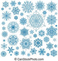 Sněhové vločky, vektorové ikony. Sněhurka, grafické umění