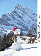 Sněhový muž proti panorám