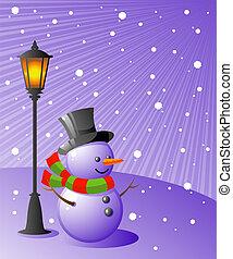 Sněhový muž stojí pod lampou v noci