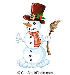 sněhulák, proužkovaný, klobouk, šátek