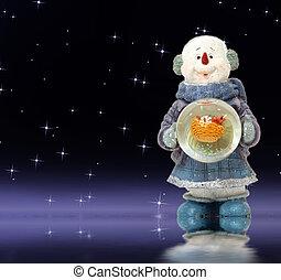 sněhulák, večer, rozkošný, vánoce karta