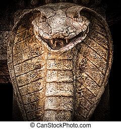 snake., skulptura, kobra