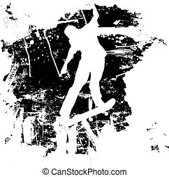 snowboard, nebo, grunge, skateboarder
