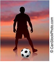 Soccer přehrávač na večerní stránce