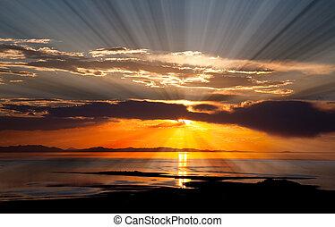 solený, důležitý, západ slunce, jezero, barvitý