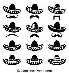 sombrero, knír, klobouk, mexičan