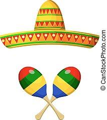 sombrero, mexičan, maracas, neposkvrněný, mít námitky, festival., národnostní, grafické pozadí.