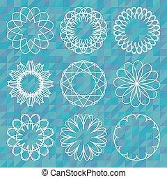 Spirografické kulaté opojení na polygonální pozadí