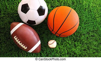 Spoleènost sportovních míčků na trávě