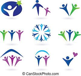 společenský, obec, síť, ikona