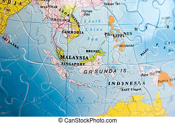 společnost, 3, south-east, asie, puzzle: