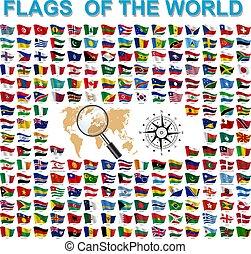společnost, vlaječka, země, nejvyšší, dát, jména, podepsaný, postavení