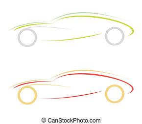 sportovní, emblém, moderní, -, vůz