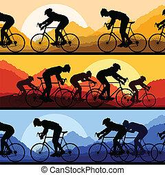 Sportovní závodníci a bicyklisti a bicykly