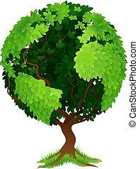 spousta koule, pojem, strom, hlína