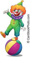 stálý, klaun, koule, přes