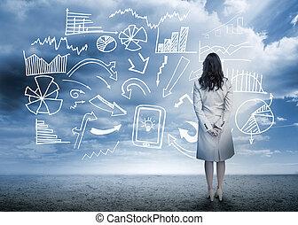 stálý, vývojový diagram, pohled, data, obchodnice
