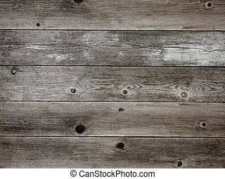 Stříbrná šedá dřevěná dřevěná deska ukazuje bohaté zrny a uzel