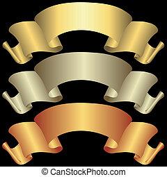 standarta, zlatý, bronzovat, stříbřitý